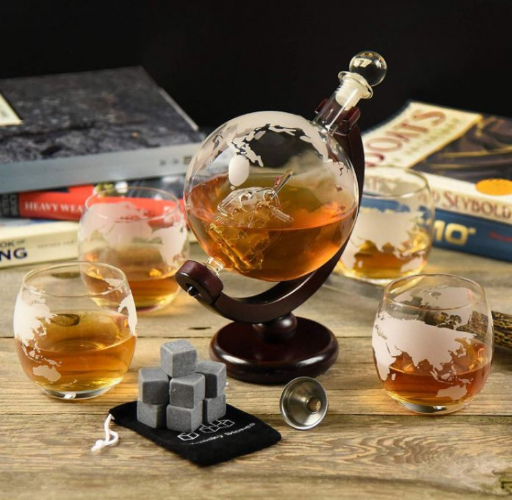 Glass World Globe Whiskey Decanter Set
