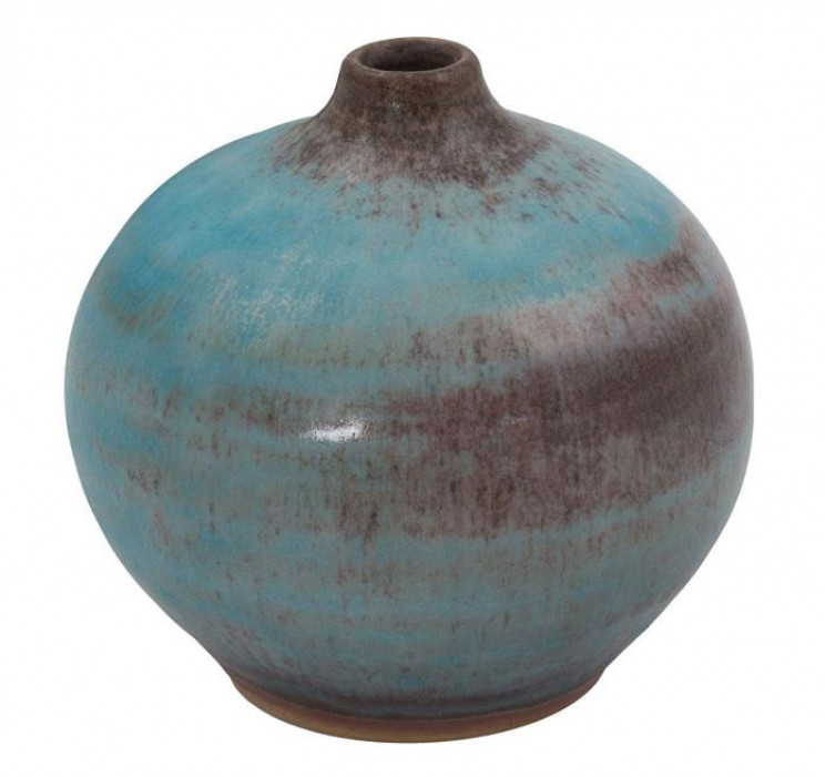 Handcrafted  Rustic Style Turquoise Ceramic Bud Vase