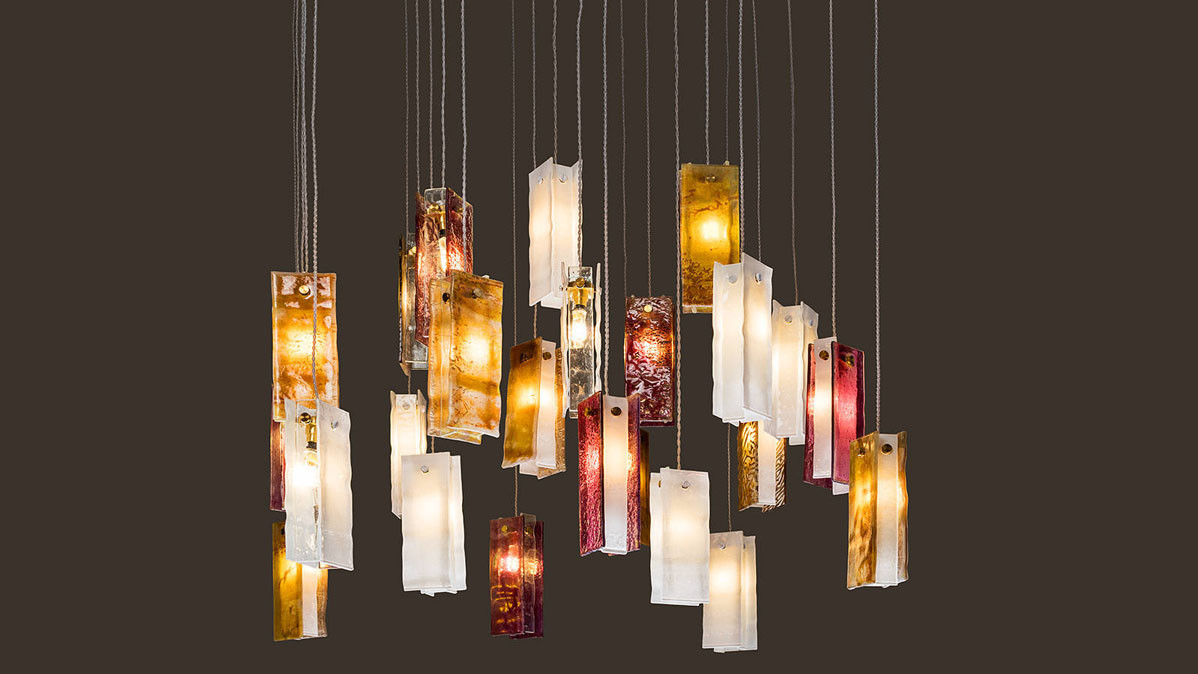 Unique and Modern Bohemian Style Glass Chandelier