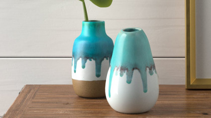 Contemporary Teal And White Ceramic Drip Vases