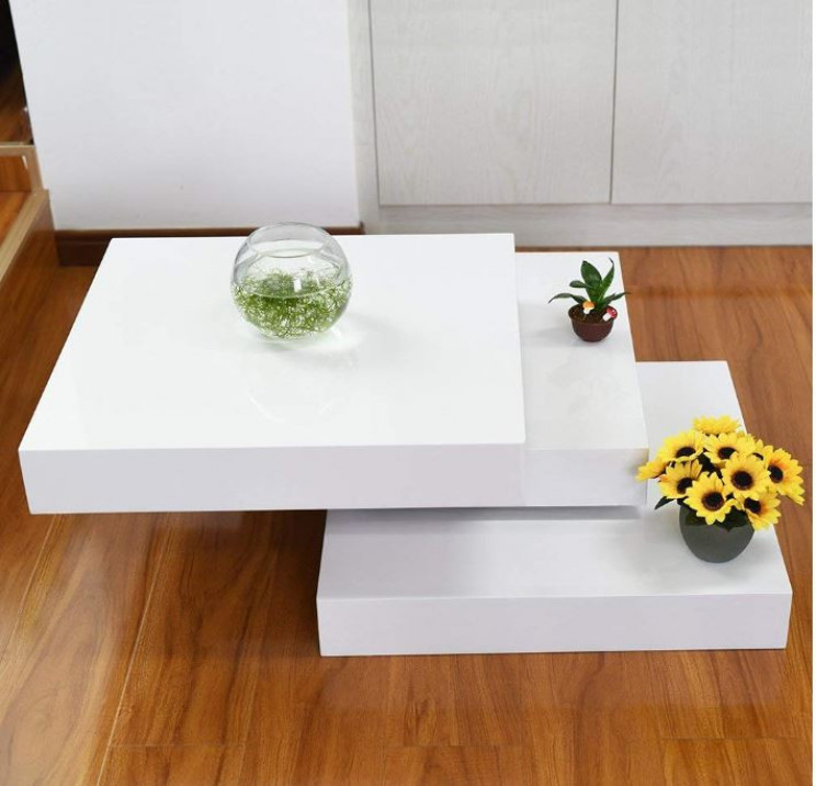 Brilliant Layered White Coffee Table That Rotates