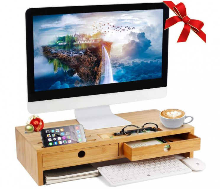 Organize Your Desk Using This Laptop or Monitor Stand With Drawers