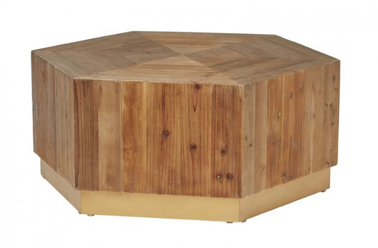 Natural Golden Rustic Wood Coffee Table