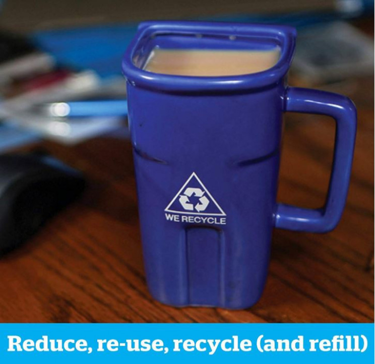 Novelty Recycling Bin Trash Can Coffee Mug