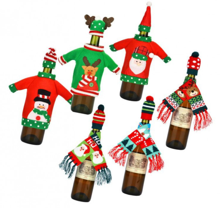 ugly sweater wine cover set of six
