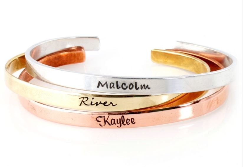 Personalized Stacking Cuff Bracelet Set For Her