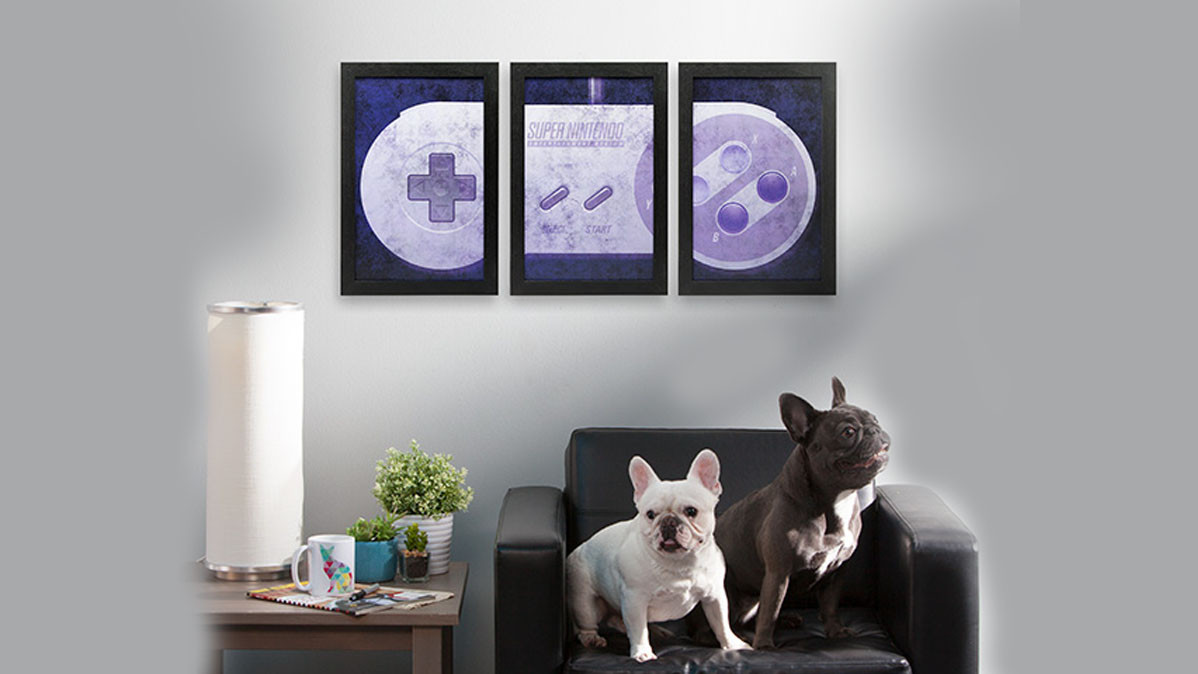 Super Nintendo Controller Wall Art Set of Three