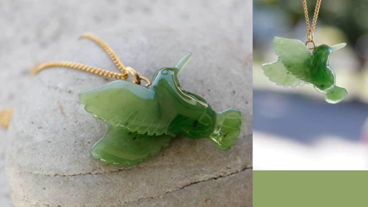 Hand Carved Jade Hummingbird Necklace