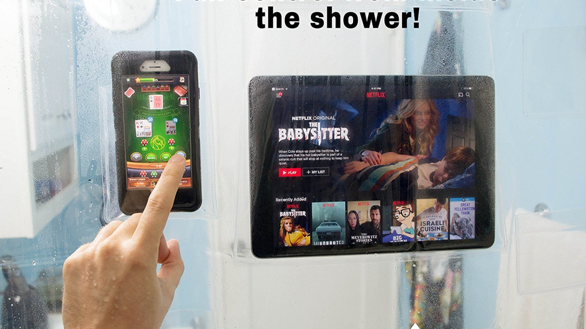Device Holding Clear Shower Curtain