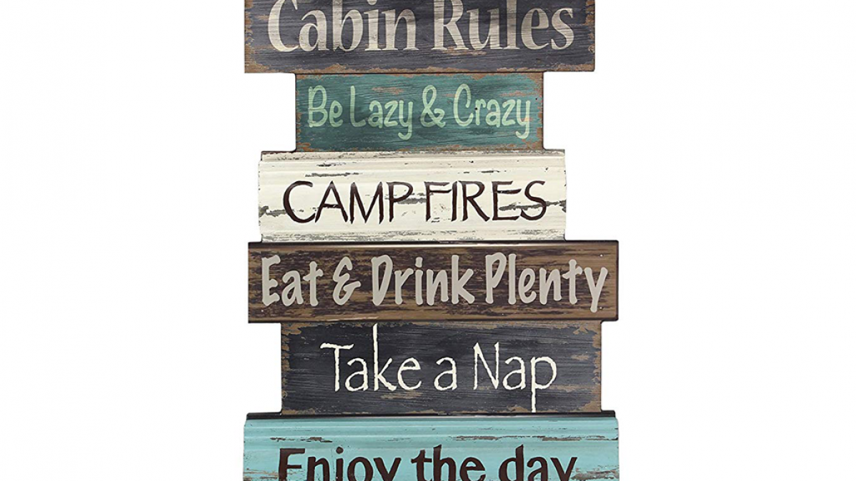 Cabin Rules Holiday Fun Wall Sign