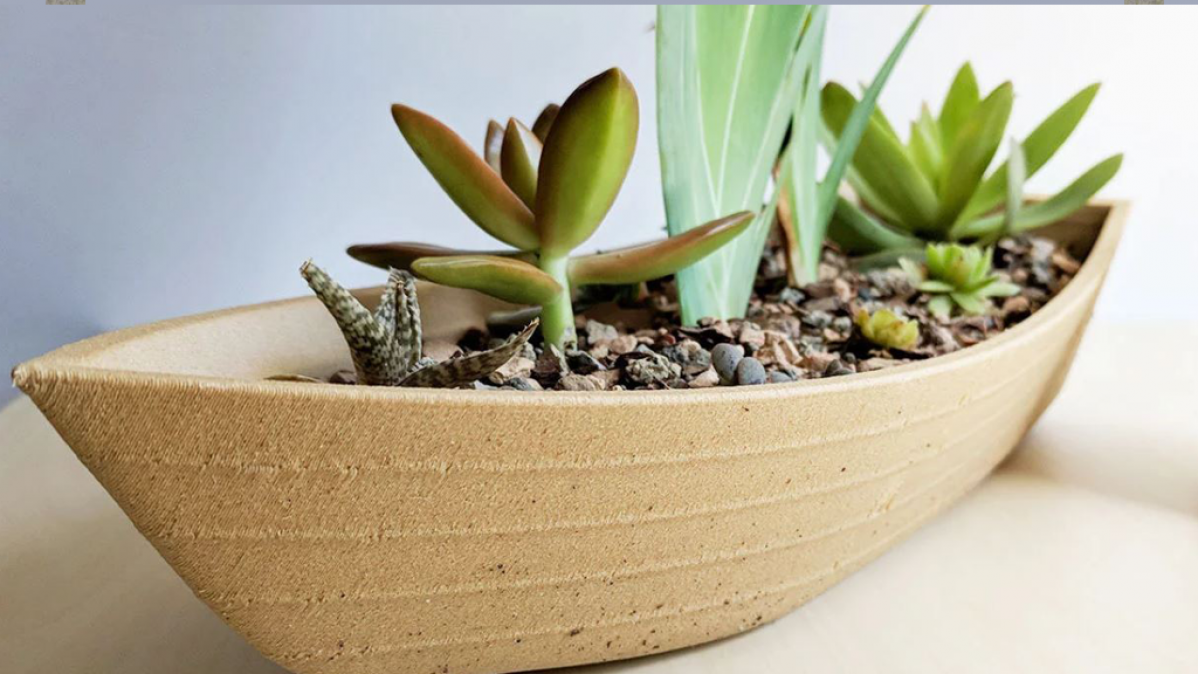 Large Distinctive Wooden Canoe Planter
