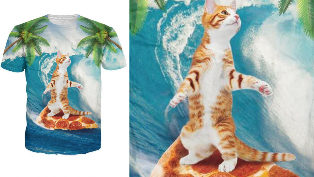 Cool Fun Cat Surfing On Pizza Shirt