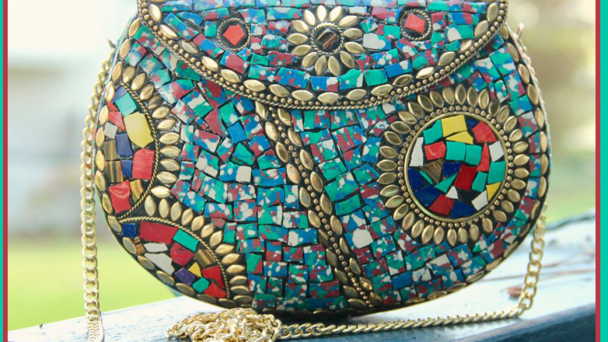 Unique Handcrafted Colored Stone Mosaic Bag