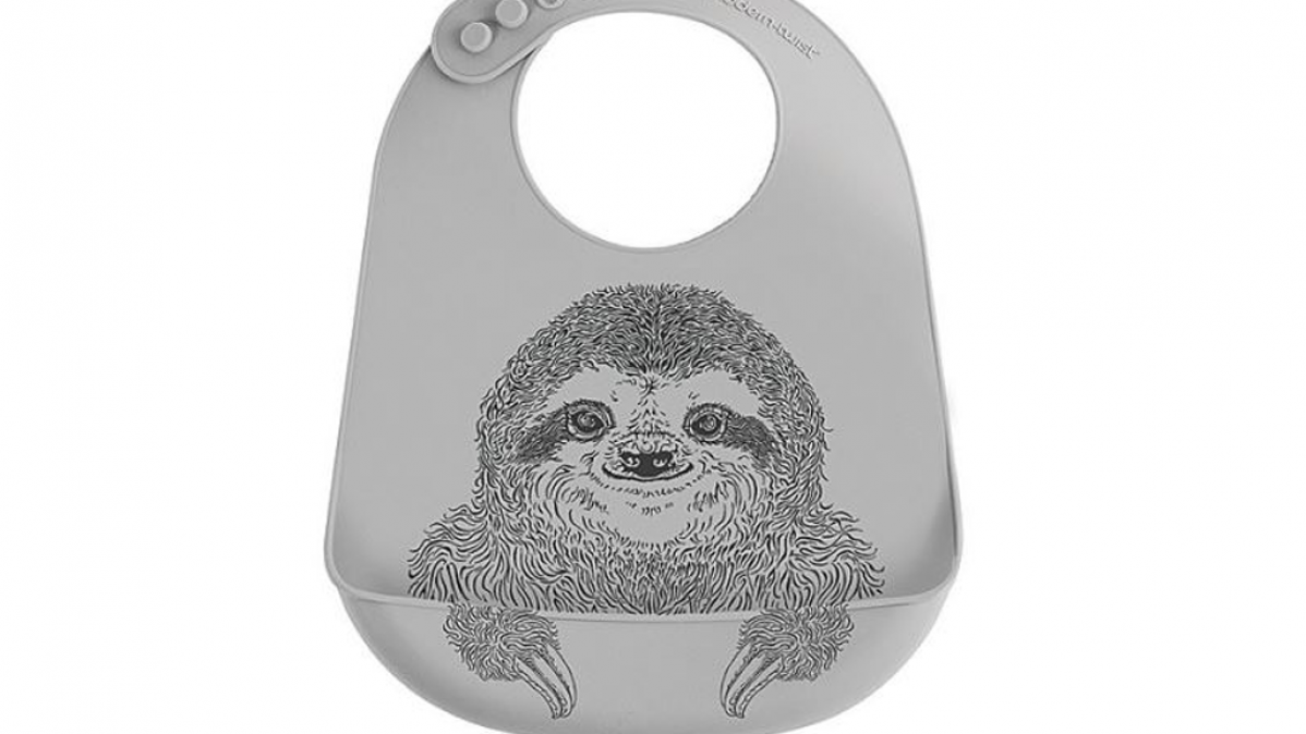 Cute adjustable silly smiling sloth bucket bib