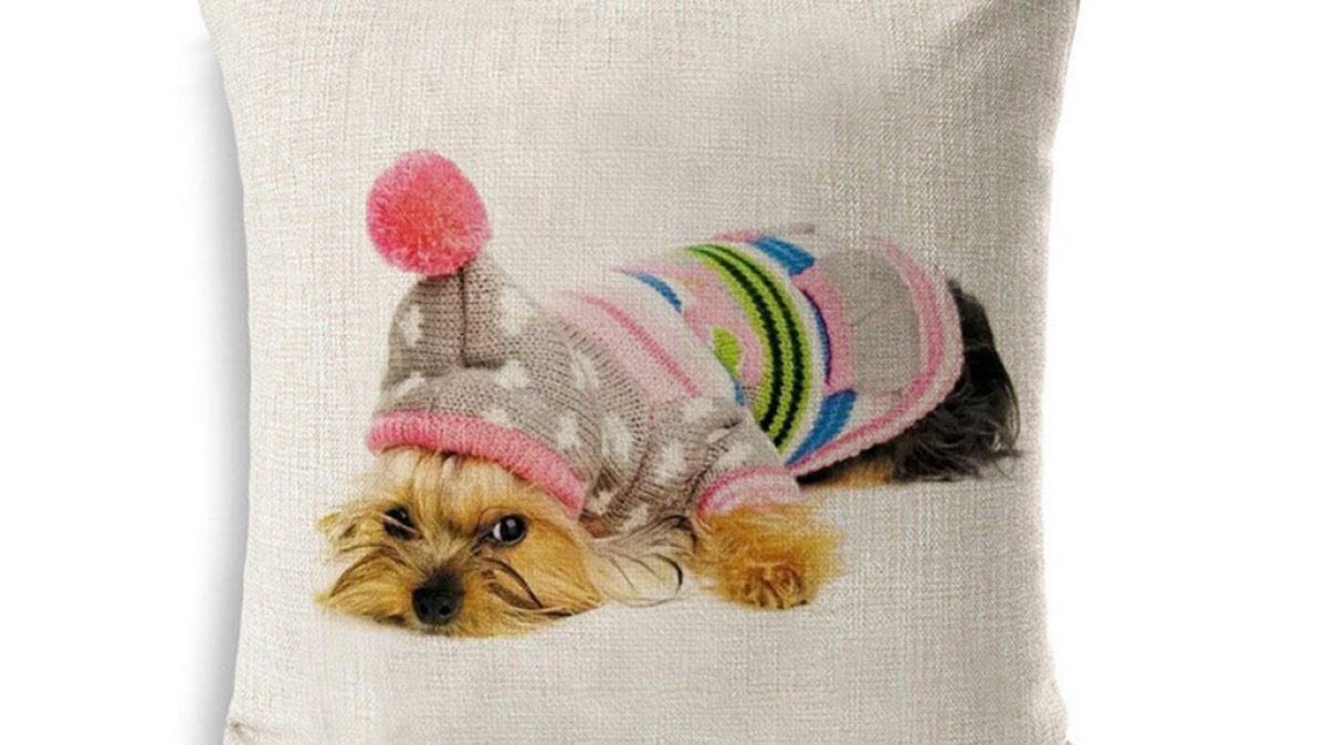 Adorable Yorkie Cushion Cover