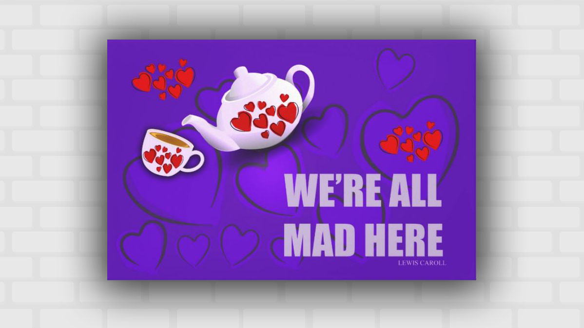 Modern Alice In Wonderland Teapot And Quote Wall Art