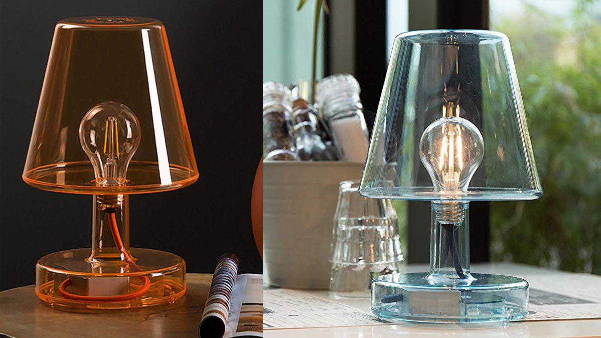 Transparent Lamp With Old School Edison Light Bulb