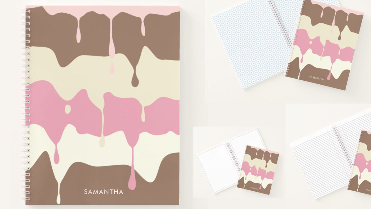 Cool Custom Notebook With Dripping Neapolitan Ice Cream Design