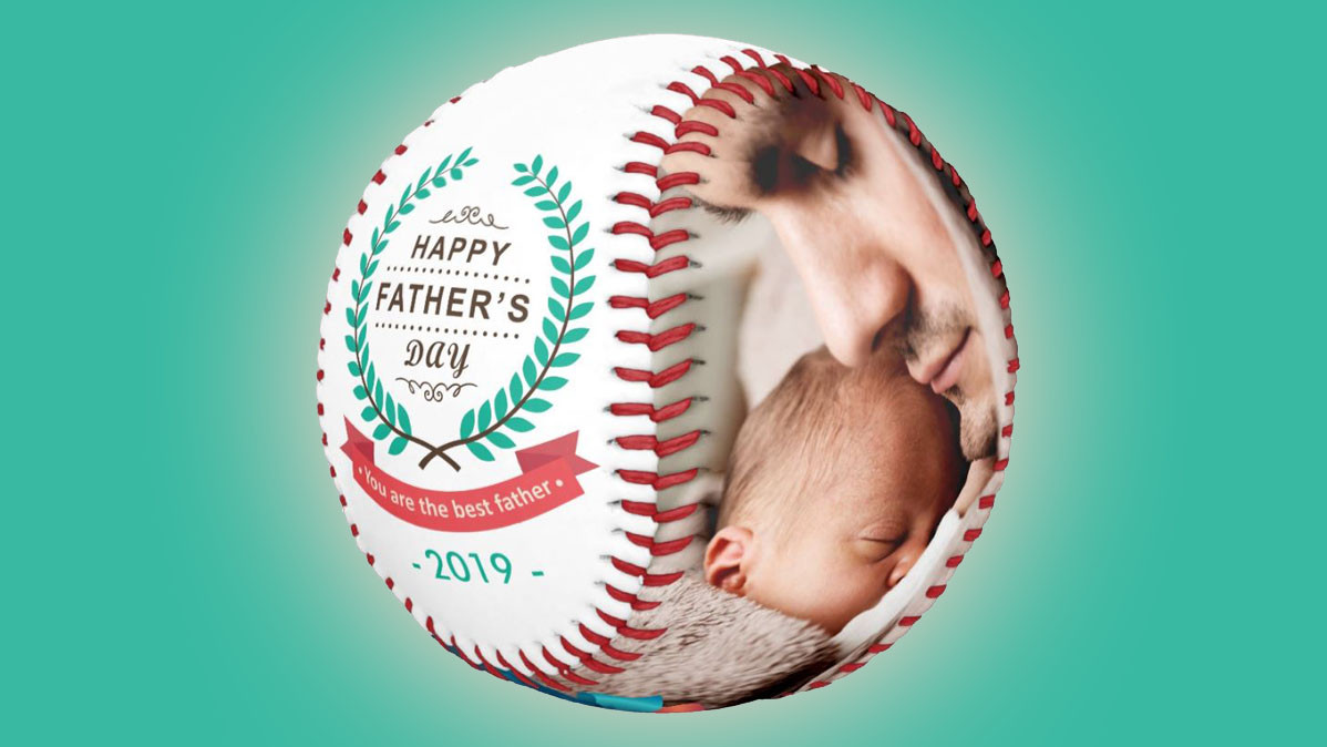 Custom Family Photos Father's Day Baseball Gift