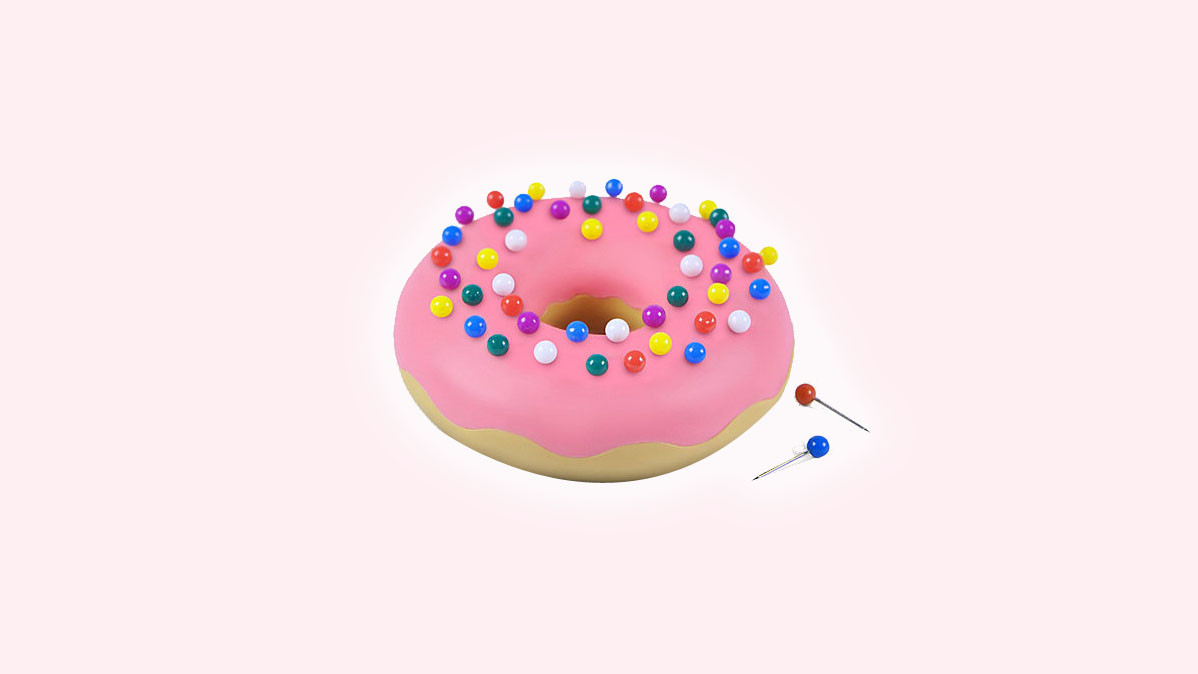 Cool Desktop Push Pin Holder That Looks Like A Donut