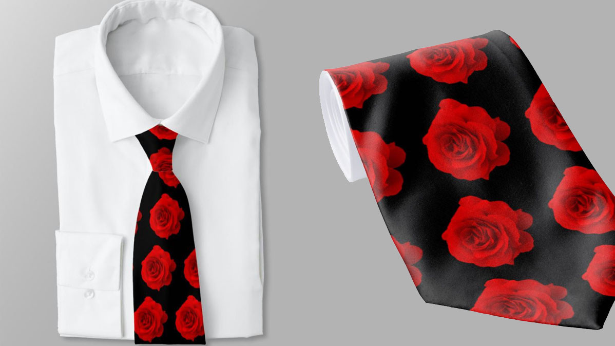 Classic Red Rose Elegant Necktie