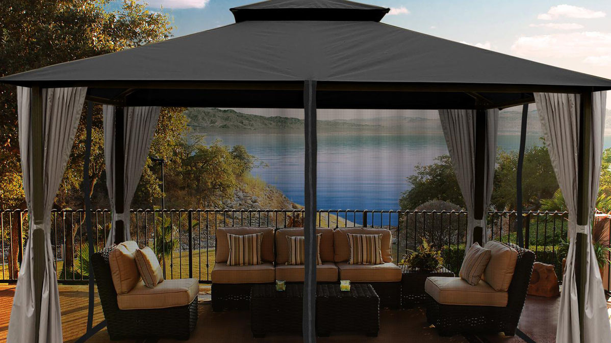 Luxurious Gazebo With Privacy Curtains And Mosquito Netting