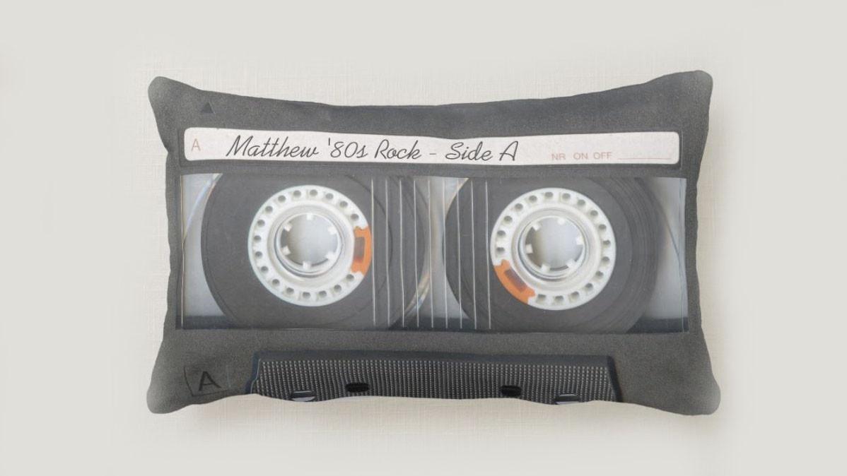 Retro 80s Mixtape Throw Pillow With Custom Text