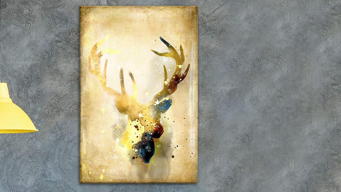 Creative Vintage Look Deer Wall Art Canvas
