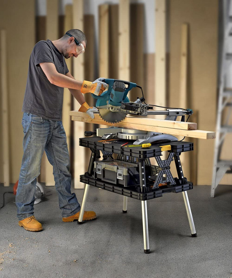 Folding Workbench for Garage Works and DIY Enthusiasts