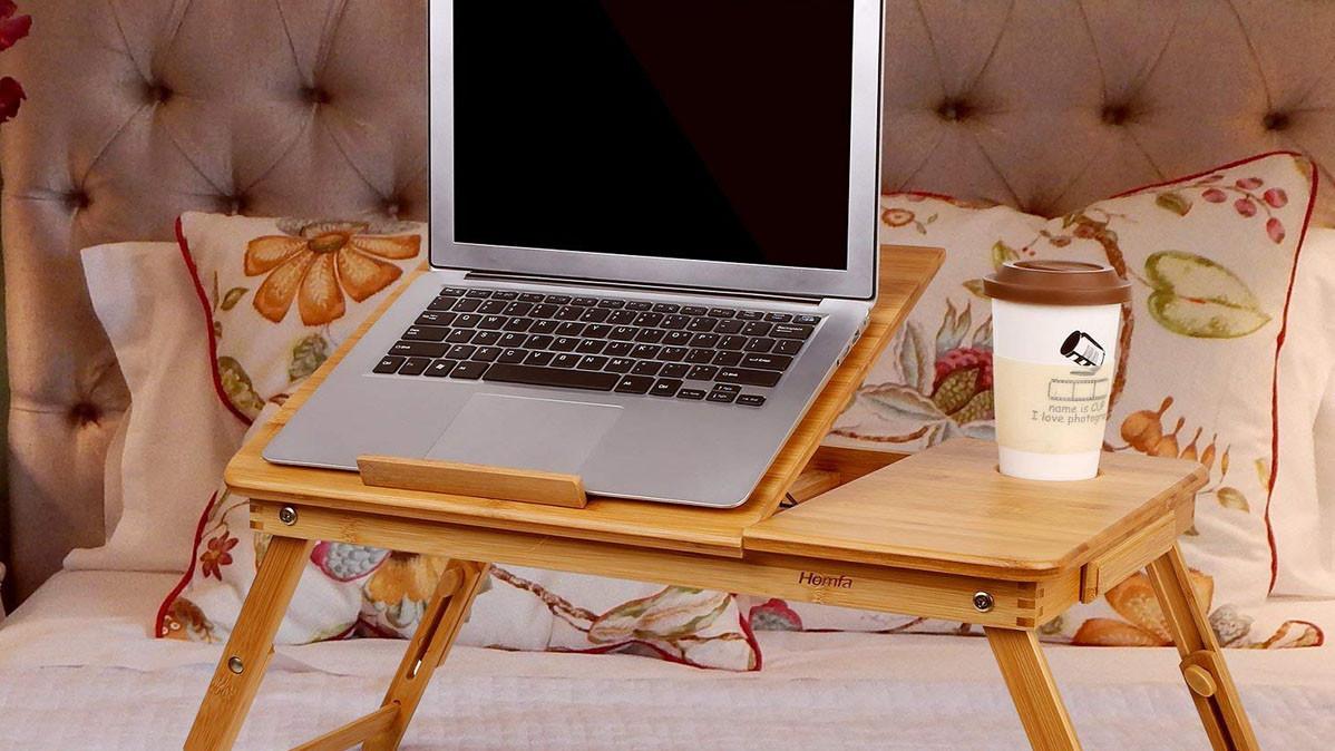 Adjustable Tilted Bamboo Laptop Desk