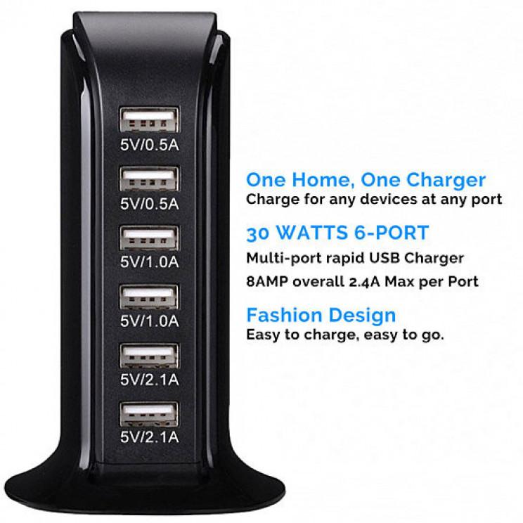 Multi-port Six Usb Desktop Charging Station