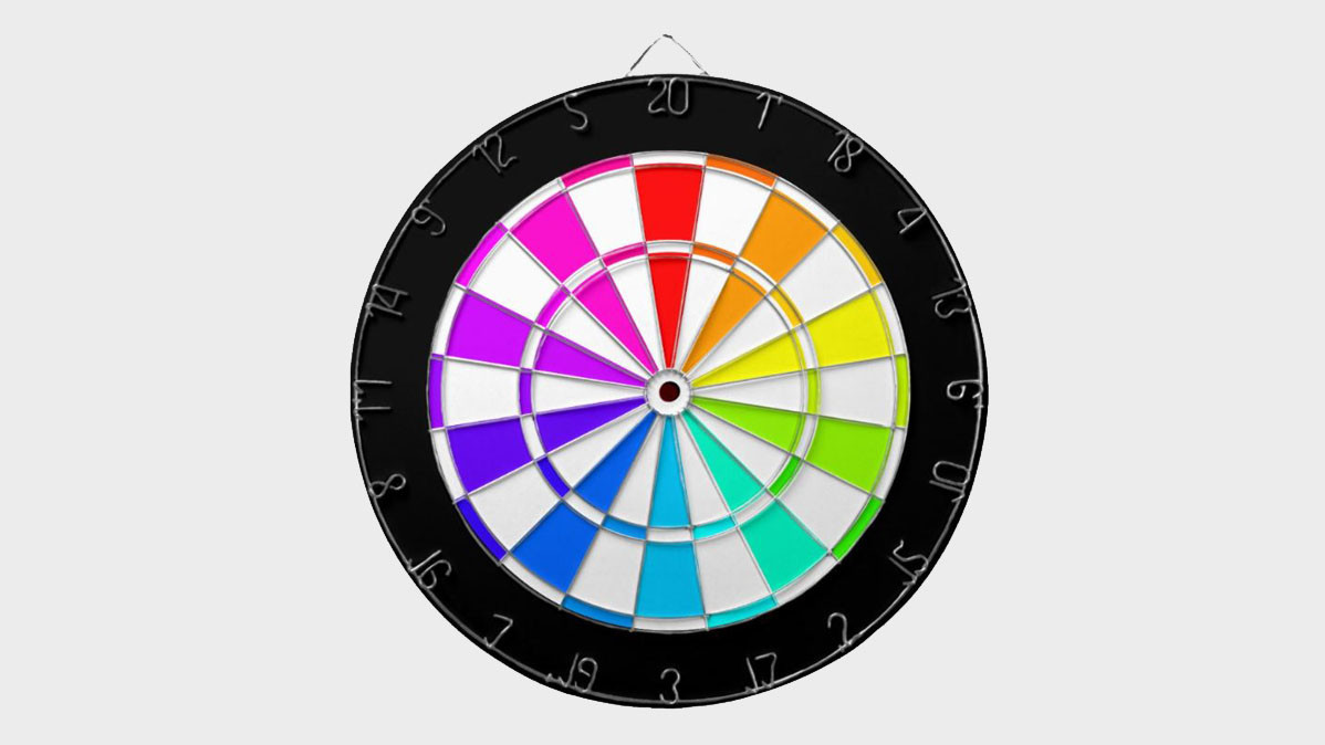 Cool And Bright Rainbow Colored Dartboard