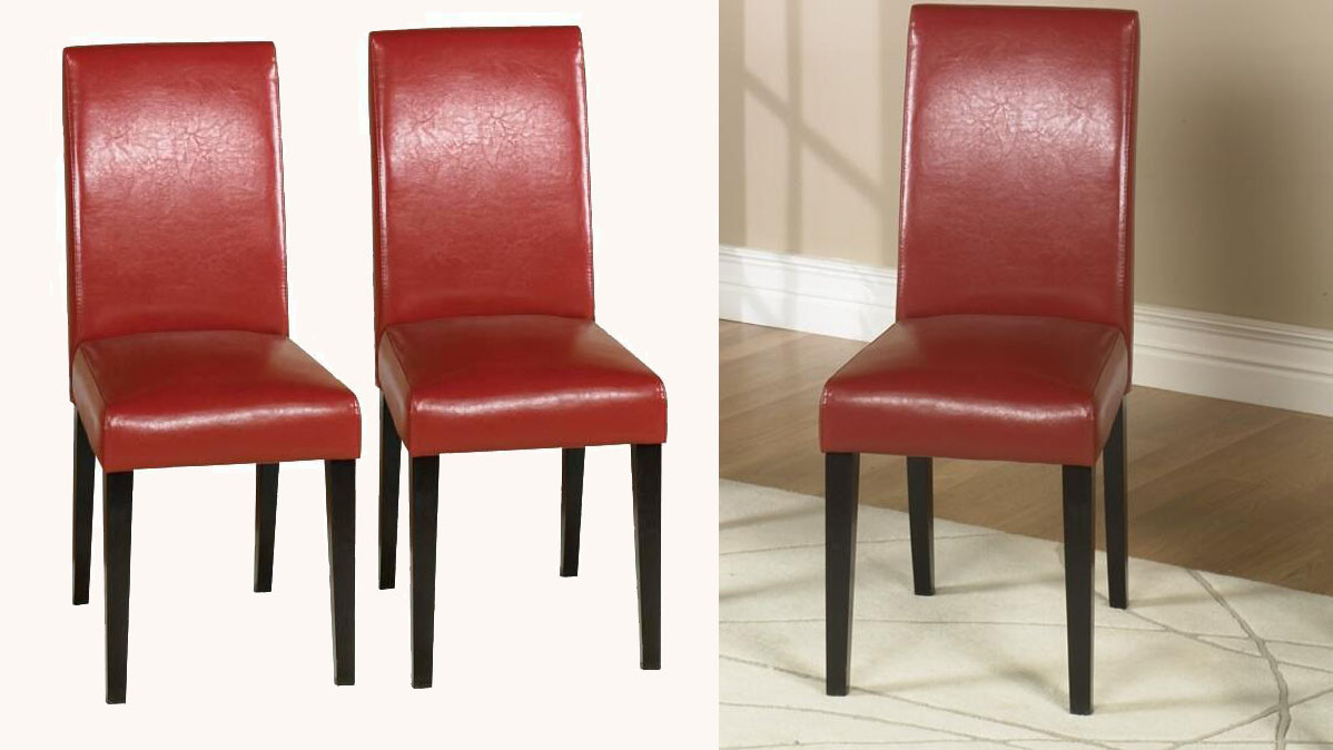 Contemporary Style Red Leather High Back Dining Chairs