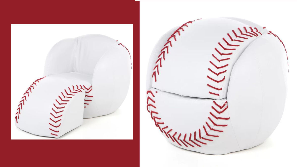 Kids Chair And Ottoman Set That Looks Like A Baseball