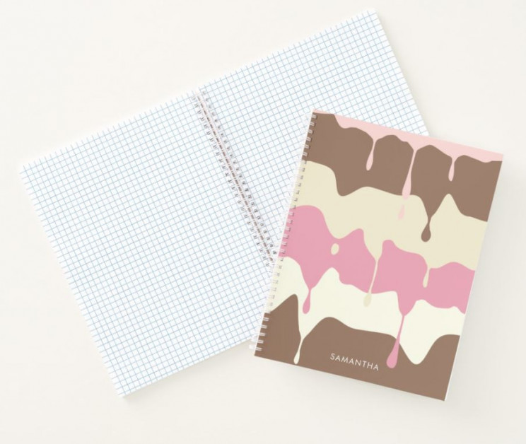Cool Custom Notebook With Dripping Neapolitan Ice Cream Design