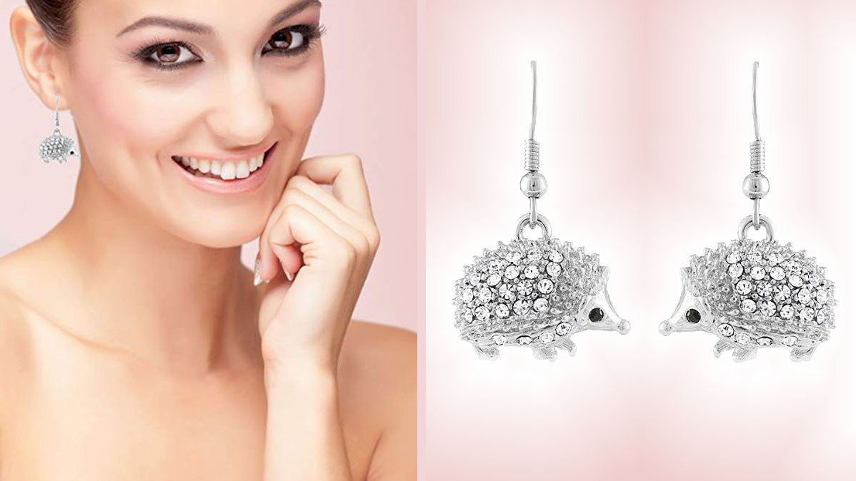 Adorable Sparkling Crystal Hedgehog Earrings