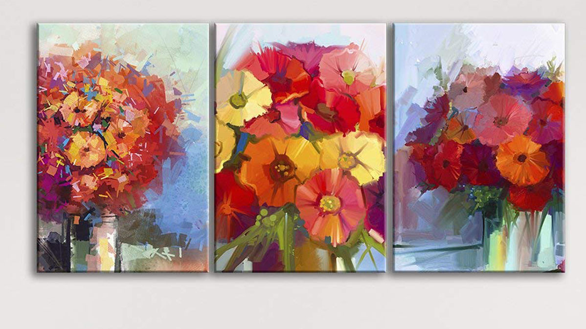 Bright Modern Three Panel Floral Wall Art