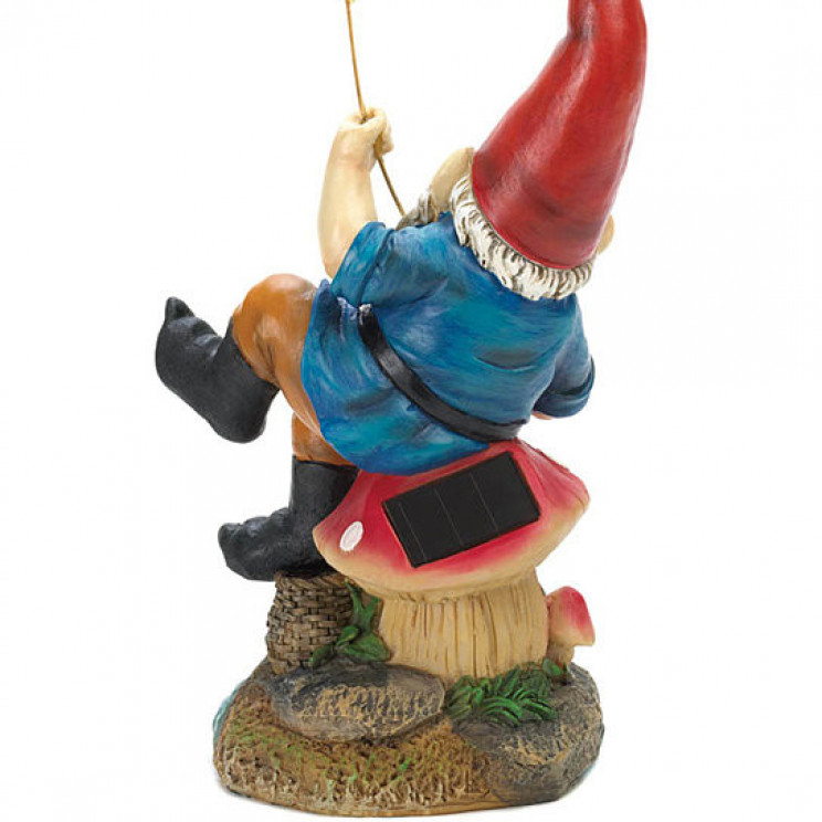 Fishing Gnome Garden Statue With Built In Solar Light