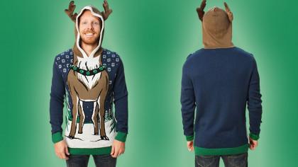 Funny Reindeer Hoodie Ugly Christmas Sweater