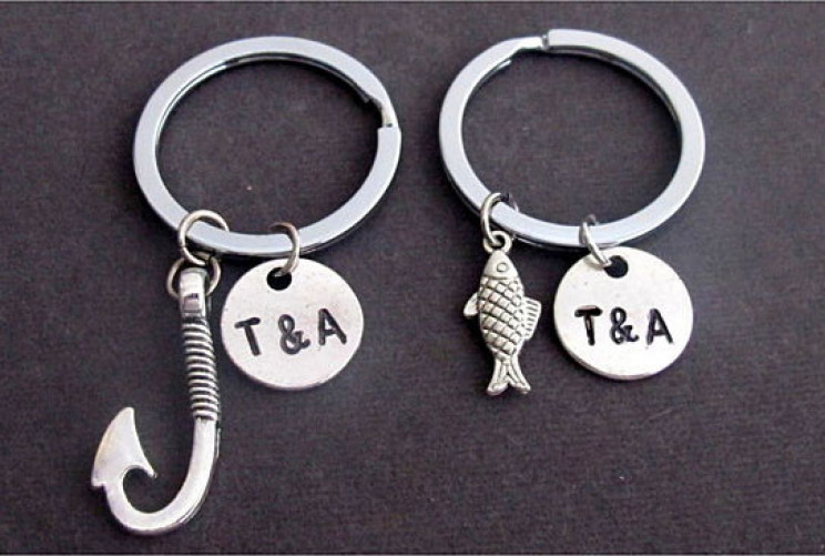 Hook And Fish Keychain Set For Couples With Custom Initials
