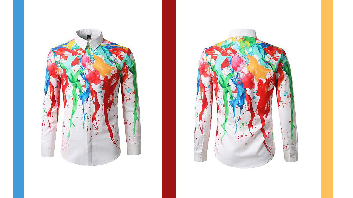 Bright And Unique Men's Cotton Shirt With Paint Splash Design