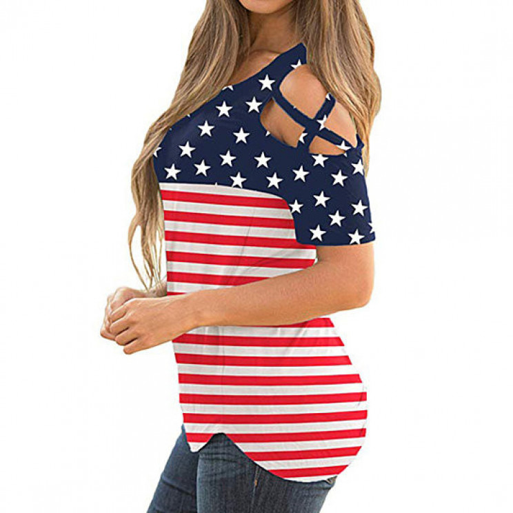 Women's American Flag Shirt Perfect For July 4th Celebrations