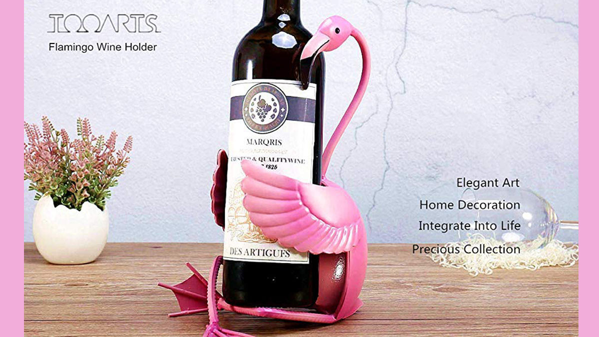 Sculptured Metal Pink Flamingo Wine Bottle Holder