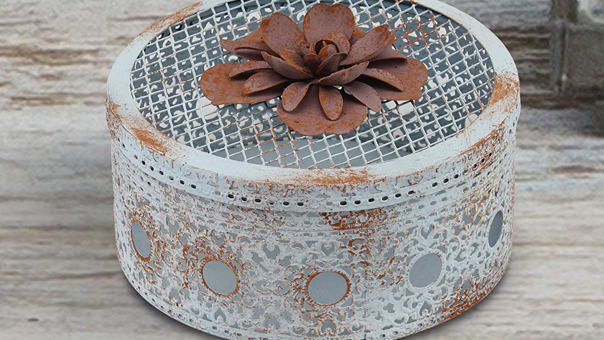 Antique Look Trinket Box With Metal Flower