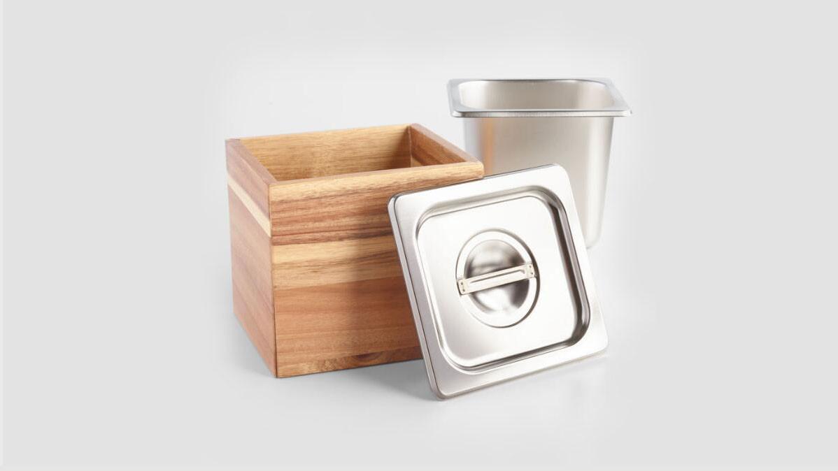 Rustic Look Wood And Steel Kitchen Compost Bin