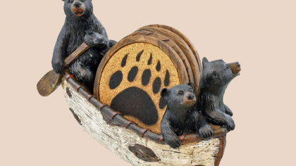 Black Bears In Canoe Drink Coaster Set