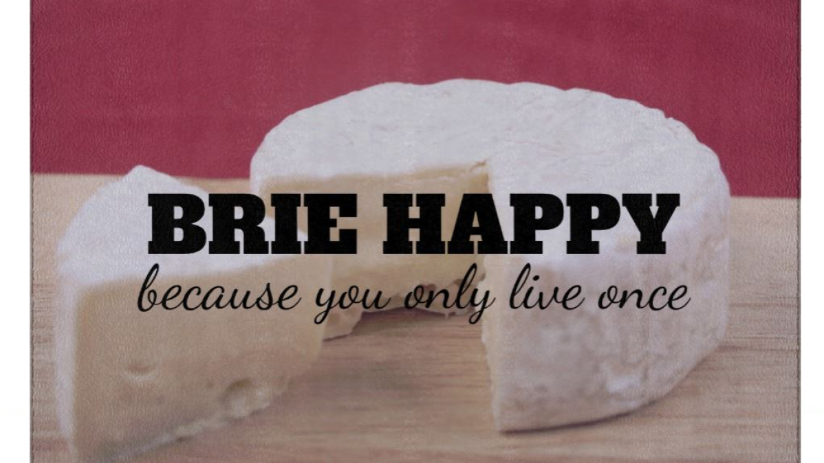 Brie Happy Funny Glass Cheese Cutting Board