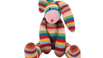 Beautiful Hand Crocheted Rainbow Bunny