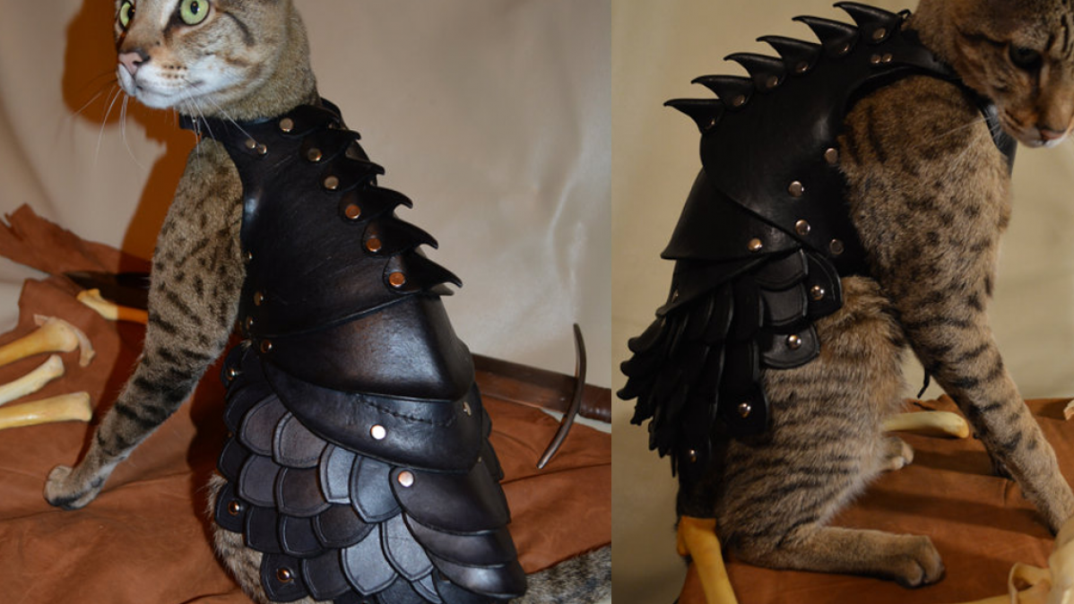 Handmade Leather Cat Battle Armor
