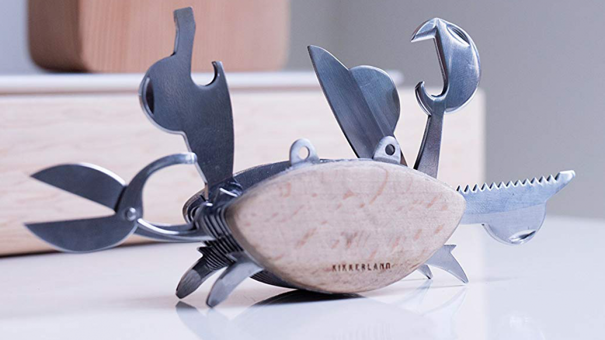 Cool Stainless Steel Beechwood Crab Multi Tool